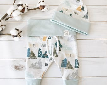 ORGANIC Baby Leggings and Knot Hat Set(NB-18-24M) // Adventure Awaits //Striped Pants// Pant and Hat set // Wild One Set // Baby Clothes