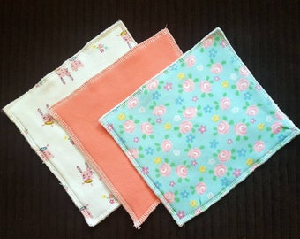 Bunny Floral Baby Washcloths Set of 3 | Handmade Baby Washcloths | Terry Cloth Baby Bath Wash Cloths | Reusable Wipes