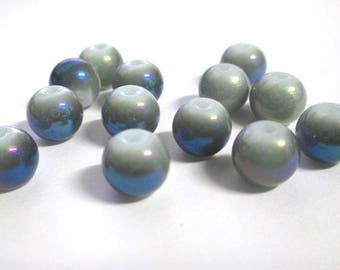 10 pearl beads shiny iridescent blue gray painted glass 8mm (O-45)