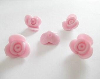 5 beads acrylic Flower Pink 15x15x8mm