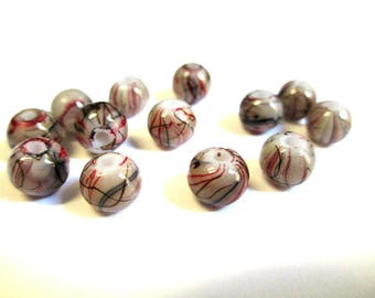20 Brown, red painted glass 6mm beads