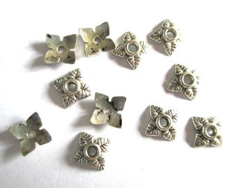 30 bead caps flower antique silver 6mm metal