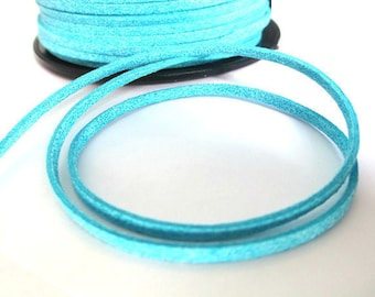 1 m cord Suede Blue glittery suede 3 mm