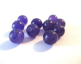 10 purple 8mm natural jade (17) beads - 5