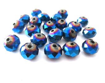20 rondelle beads 8x6mm blue glass electroplate color nacklace