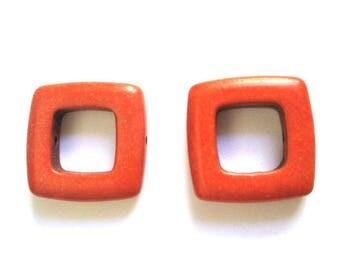 2 square orange 19mm howlite beads