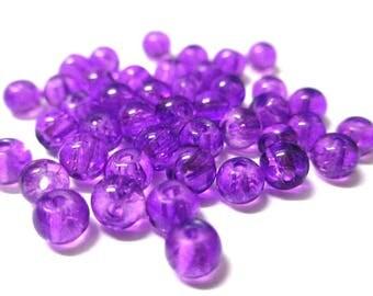 20 purple Crackle Glass 4mm (N-7) beads