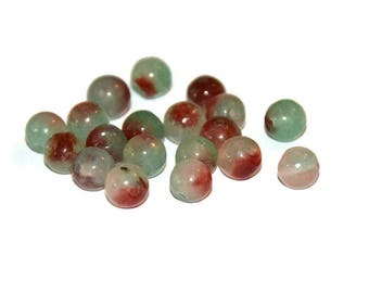 10 green and Burgundy 6mm natural jade beads