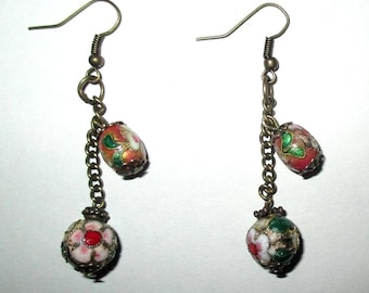 ღ ღ enameled metal earrings / unique