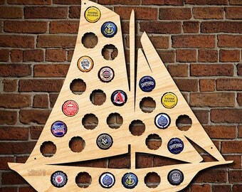 Sailboat Beer Cap Map - Bottle Cap Holder Makes Great Nautical Decor - Holds Up To 30 Of Your Favorite Craft Beer Caps - Crafted of Birch