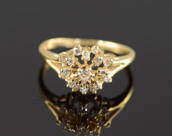 14k 0.30 Ctw Diamond Cluster Ring Gold