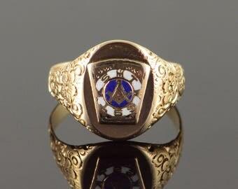 10k Enamel Victorian Mason Masonic Ring Gold