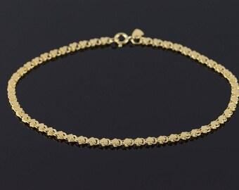 """14k Fancy Heart Link Anklet Bracelet Gold 9.75"""""""