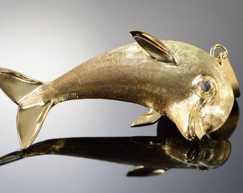 14k Heavy Textured Dolphin Fish Charm/Pendant Gold