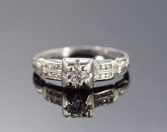 18k Art Deco 0.40 Ctw Old European Cut Diamond Engagement Ring Gold