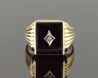10k 14x12mm Black Onyx Diamond Inset Men's Ring Gold
