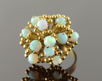 14k Statement 4.5mm Opal Cluster Retro Ring Gold