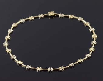 14k Heavy Flower Bar Link Necklace Gold 17.75""
