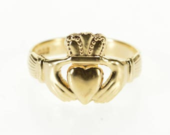 14k Irish Traditional Celtic Claddagh Loyalty Ring Gold