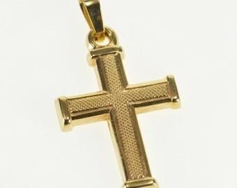 10k Textured Patterned Cross Christian Symbol Charm/Pendant Gold