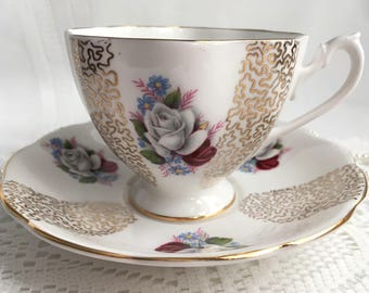 Reserved Queen Anne Fine Bone China Tea Cup and Saucer, Red and White Roses with Gold Detail and Trim