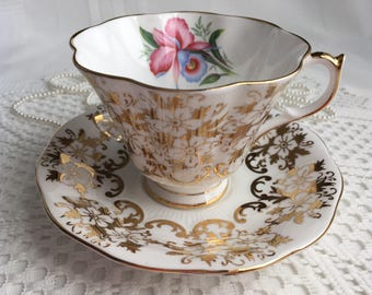 Queen Anne Fine Bone China Tea Cup and Saucer, Gold Floral Gilding on White with Orchid, Gold Trim