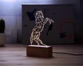 Night light//horse//acrylic//gift idea//usb//2d//3d//lamp//furniture