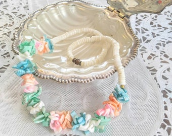PRETTY PASTEL Vintage Shell Necklace-Puka, Pukka, Pink, Green, Blue, Peach, White, Beaded, Multi Color-All Orders Only 99c Shipping!!