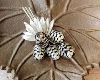 RARE MR JOHN Signed Vintage Pinecone Silver Brooch-Famous Hat Maker/Gone With the Wind-Couturier-Tree Branch, Collector-All Orders 99c Ship