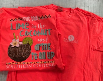 Southern couture put lime in the coconut tee NEW