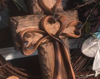 Rustic Wall Heart Cross