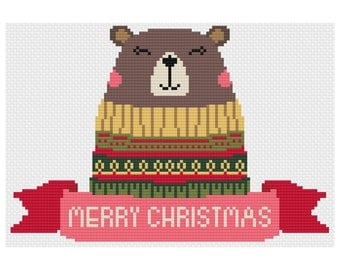 Christmas Bear Cross Stitch Pattern Digital Download Modern Christmas Pattern Cute Bear Embroidery Ugly Christmas Sweater Stitch Pattern