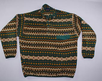 90s PATAGONIA Long Sleeve T-Snap Casual Fleece Sweater Tribal Print Mens XL, Vintage Patagonia Fleece Sweater, Vintage Fleece Sweater