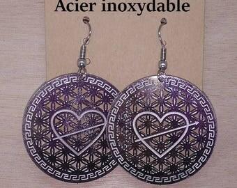 1 pair of stud earrings heart in the flower of life engraved stainless steel