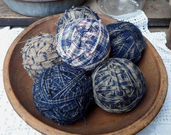 Rag Balls, Navy Blue Homespun Rag Balls, Blue Bowl Fillers, Fabric Balls, No Styrofoam, Primitive Country Rag Balls, Primitive Bowl Fillers