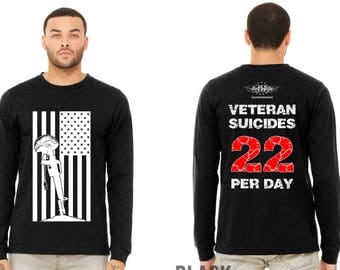 NEW DESIGN! Veteran Suicide Awareness, Large Flag logo, Two dollars of every sale goes to help veterans with PTSD