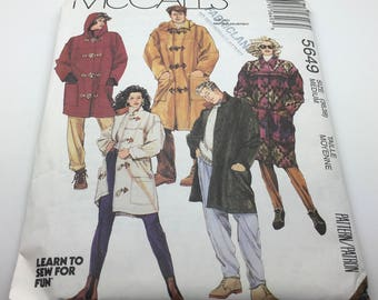 McCall's 5649 Sewing Pattern Lined Duffle Coat Detachable Hood  Toggle Closures Very Loose Fitting Men's Women  Boys Size Medium 36 38