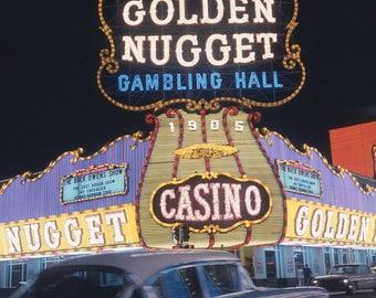 Vtg Color Transparent Photo Las Vegas Golden Nugget 1960's At Night