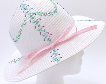 "Hand-Painted Women's Sun Hat ""Garlands"""