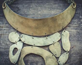 Statement necklace Bib necklace gold necklace polymer clay necklace asymmetric necklace long necklace large necklace minimalism necklace