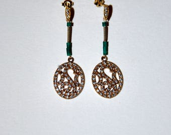Art deco gold-plated earrings, Turquoise and Zircons
