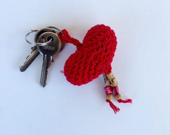 Red Amigurumi heart shaped key ring in cotton