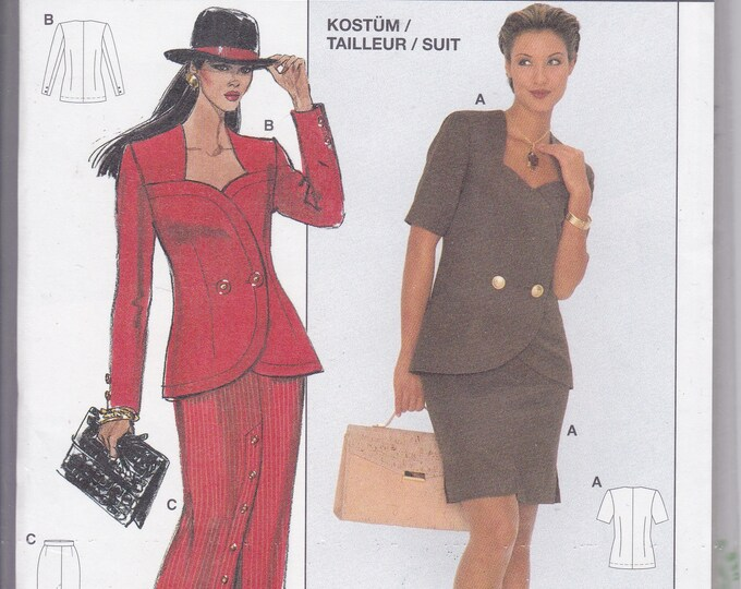 FREE US SHIP Burda Couture 3990 Retro 1990s 90's Sewing Pattern Top Skirt Size 8 10 12 14 16 18  Bust 31.5 32 34 36 38 40 Plus Uncut