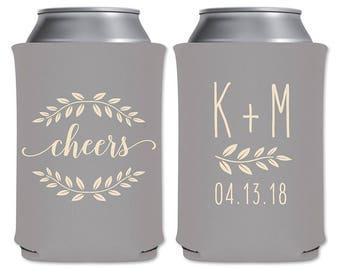 Wedding Can Coolers Beverage Insulators Custom Wedding Favors | Cheers (Style 1) | Can Holders/Beer Holders/Huggies | READ DESCRIPTION