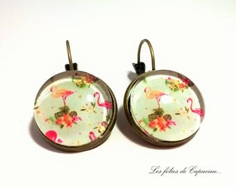 Earrings cabochon pink •FLAMANTS. •