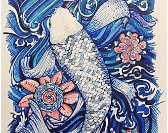 Limited Edition Giclee Print, Giclée, Fine Art Prints, Reproduction,  Koi Fish Illustration, original artwork, Home Decor, Wall Decor