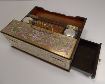 "Finest Antique French Pink ""Boulle"" Inkwell / Desk Set c.1830"