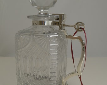 Antique English Cut Crystal and Sterling Silver Single Locking Decanter - 1898