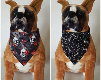 Reversible Halloween, Skull, Webs, Bats, Roses, Glow In The Dark Skeletons, Bandana, Scarf, Cat, Dog, Pet, Slip On Over The Collar, 2 in one