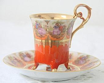 Rare Vintage Gradient Orange Demitasse Cup and Saucer, Love Story Decor, Germany